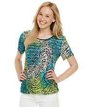 Notations® Short Sleeve Scoopneck Circle Print Shutter Top