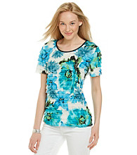 Notations® Short Sleeve Scoopneck Floral Print Shutter Top