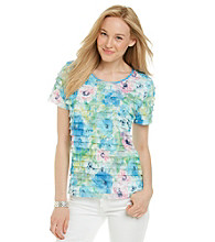 Notations® Short Sleeve Scoopneck Floral Shutter Top