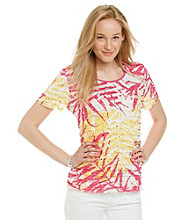 Notations® Short Sleeve Scoopneck Leaf Print Shutter Top