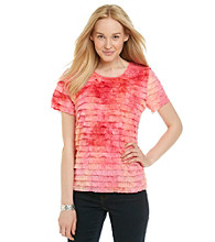 Notations® Short Sleeve Scoopneck Tie-Dye Shutter Top