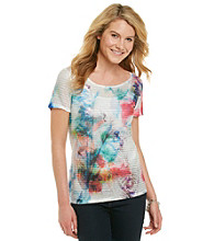 Notations® Short Sleeve Scoopneck Sublimation Top