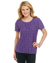 Notations® Short Sleeve Scoopneck Solid Shutter Top