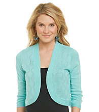 Notations® Open Front Solid Cardigan