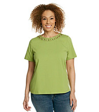Breckenridge® Plus Size Short Sleeve Crewneck Embellished Ringer Tee