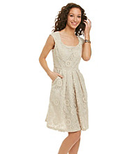 R&M Richards® Lace Pleated Dress