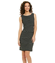 Ronni Nicole® Asymmetric Stripe Knit Dress