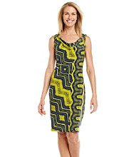 Evan-Picone® Aztec Print Drapeneck Sheath Dress