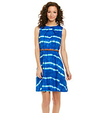 AGB® Tie Dye Print Belted Dress