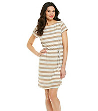 Sharagano® Waffle Knit Stripe Belted Dress