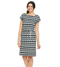 Sharagano® Wavy Knit Stripe Belted Dress