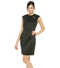 London Times® Scuba Cutout Sheath Dress