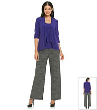 Perceptions Knit Solid Top Dot Print Pant Set