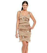 S.L. Fashions Sequin Chiffon Shutter Dress