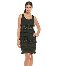 S.L. Fashions Sequin & Lace Chiffon Shutter Dress