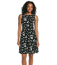 Jessica Howard® Petites' Dot Print Ruched Waist Dress