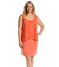 S.L. Fashions Plus Size Lace Overlay Sheath Dress