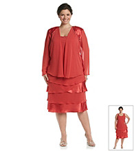 S.L. Fashions Plus Size Chiffon Jewel Shoulder Jacket Dress