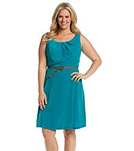 AGB® Plus Size Belted Dress