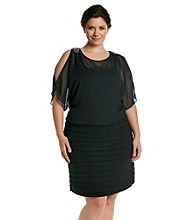 R & M Richards® Plus Size Blouson Shutter Dress
