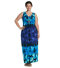 R & M Richards® Plus Size Print Maxi Dress