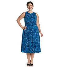 Jessica Howard® Plus Size Printed Ruched Waist Dress