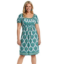 London Times® Plus Size Print Babydoll Dress