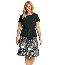 Perceptions Plus Size Solid Top and Geo Print Skirt Set