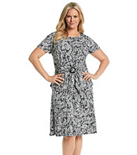 Perceptions Plus Size Paisley Print Skirt Set