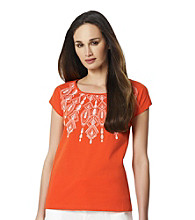 Jones New York Sport® Petites' Embroidered Scoopneck Top