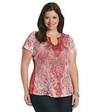 Oneworld® Plus Size Splitneck Tee With Lace Sides