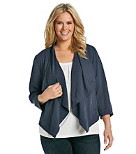 DKNY JEANS® Plus Size Drape Front Long Sleeve Jacket