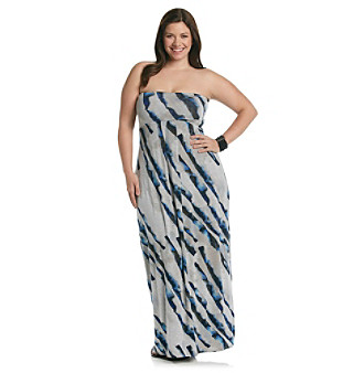 DKNY JEANS Plus Size Stripe Print Strapless Maxi Dress Women's ...