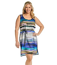 DKNY JEANS® Plus Size Printed Tank Dress With Belt