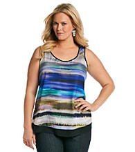DKNY JEANS® Plus Size Stripe Printed Color Block Tank