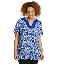 Rafaella® Plus Size Printed Embellished Neckline Top