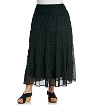 Black Rainn™ Plus Size Clipdot Maxi Skirt