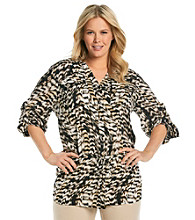 Calvin Klein Plus Size Drawstring Buttonfront Tunic