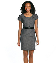 AGB® Petites' Belted Career Dress