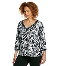Ruby Rd.® Plus Size Polynesian Print Top