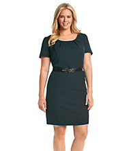 AGB® Plus Size Pleated Scoopneck Belted Dress