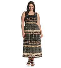 Notations® Plus Size Printed Maxi Dress