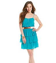 As U Wish® Juniors' Spaghetti Strap Tiered Gauze Dress