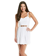 City Triangles® Juniors' White Embroidered Belted Sundress
