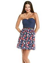 City Triangles® Juniors' Navy Floral Printed Dress
