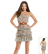 City Triangles® Juniors' Strapless Tiered Ruffle Floral Dress