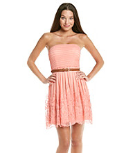 City Triangles® Juniors' Coral Mesh Embroidered Dress