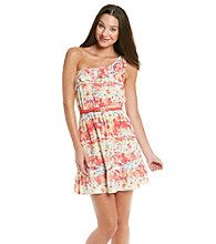 Trixxi® Juniors' Printed Chally One Shoulder Belted Dress