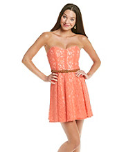 Trixxi® Juniors' Strapless Coral Lace Dress