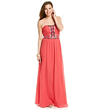 Rampage® Juniors' Beaded Chiffon Maxi Dress